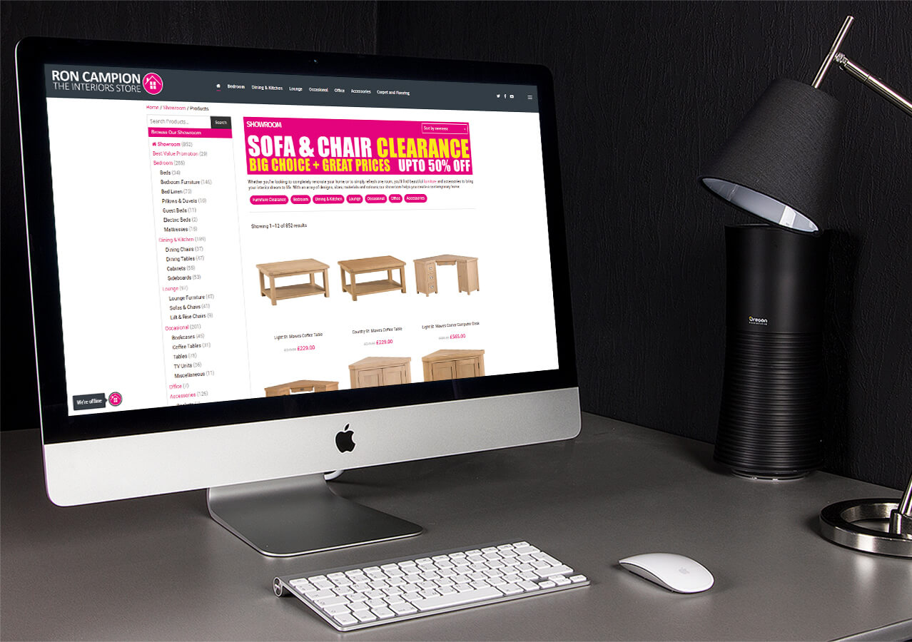 New website for Ron Campion Furnishers`